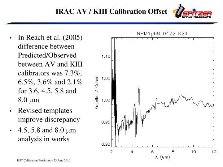 IRAC AV / KIII Calibration Offset
