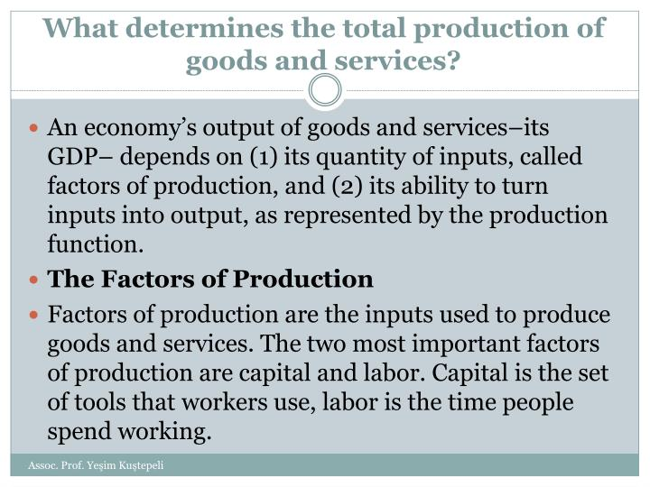 What determines the total production of goods and services?