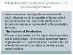 what determines the total production of goods and services