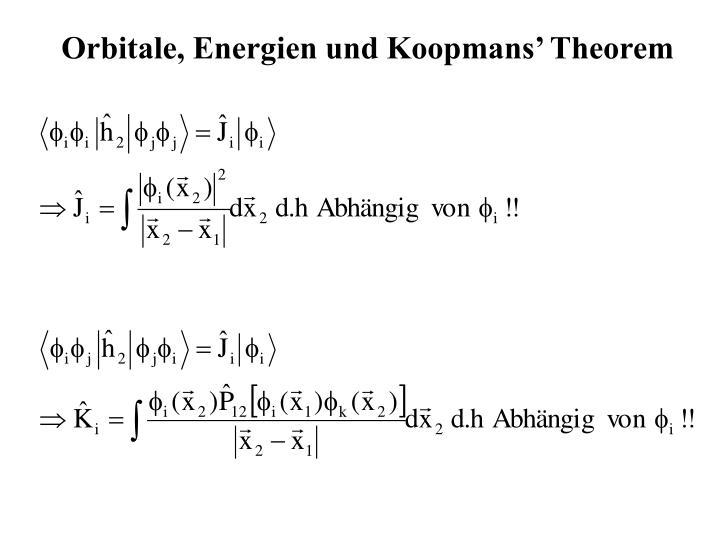 Orbitale, Energien und Koopmans' Theorem