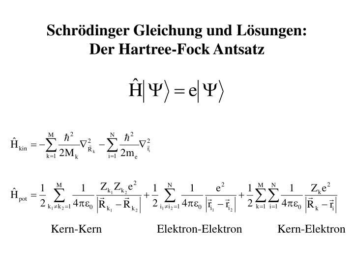 Schrödinger Gleichung und Lösungen:
