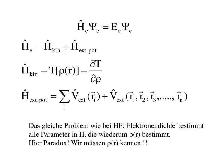 Das gleiche Problem wie bei HF: Elektronendichte bestimmt