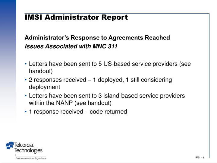 IMSI Administrator Report