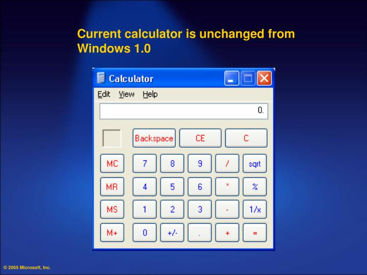 Current calculator is unchanged from Windows 1.0