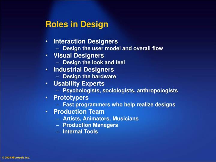 Roles in Design