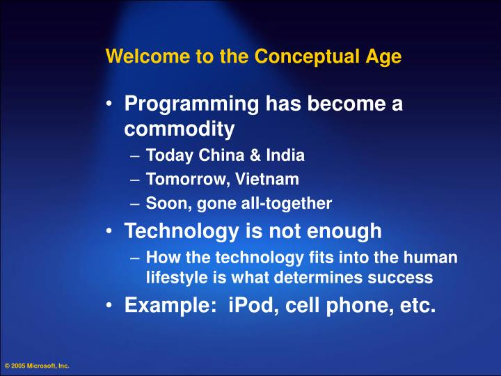 Welcome to the Conceptual Age