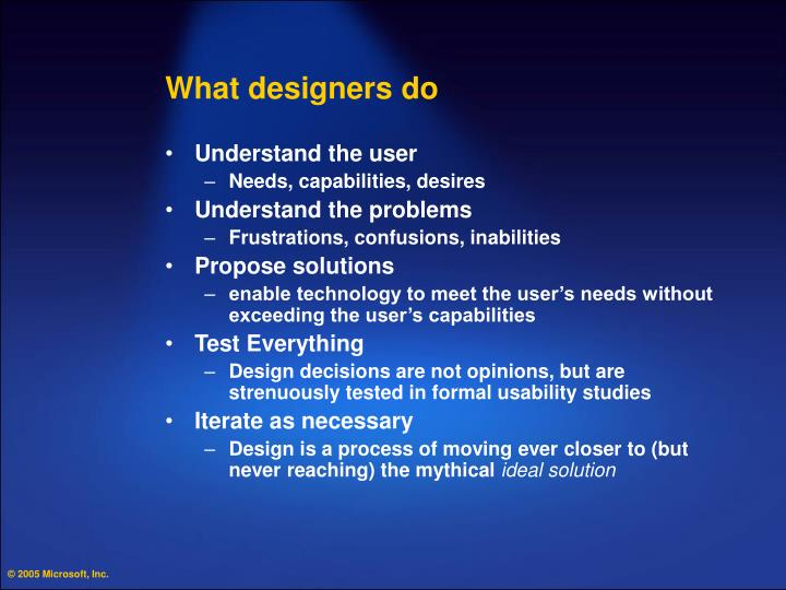 What designers do