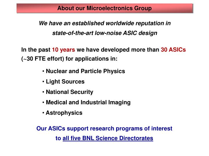 About our Microelectronics Group