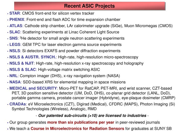 Recent ASIC Projects