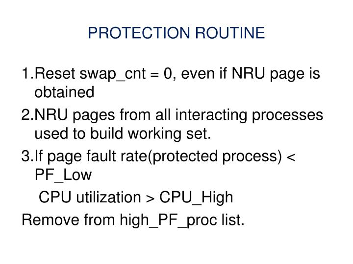 PROTECTION ROUTINE
