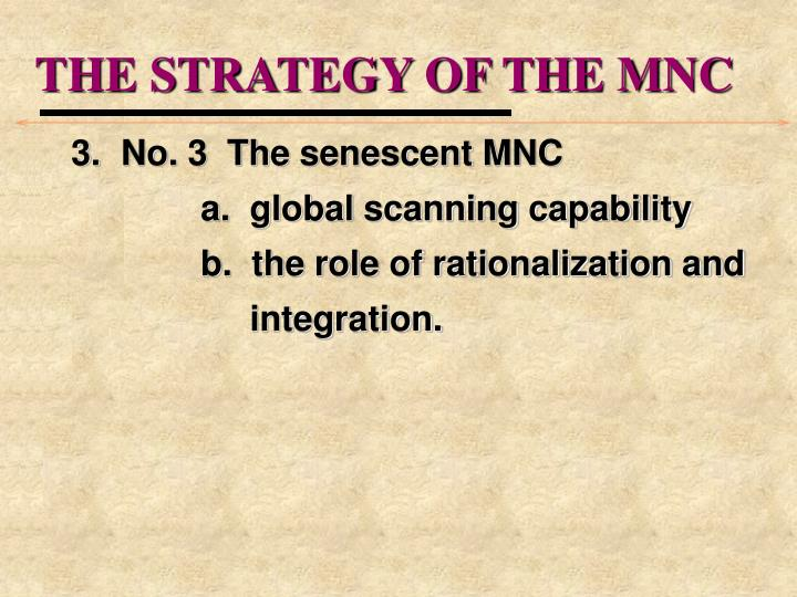 THE STRATEGY OF THE MNC