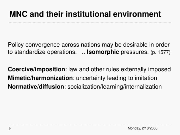 MNC and their institutional environment