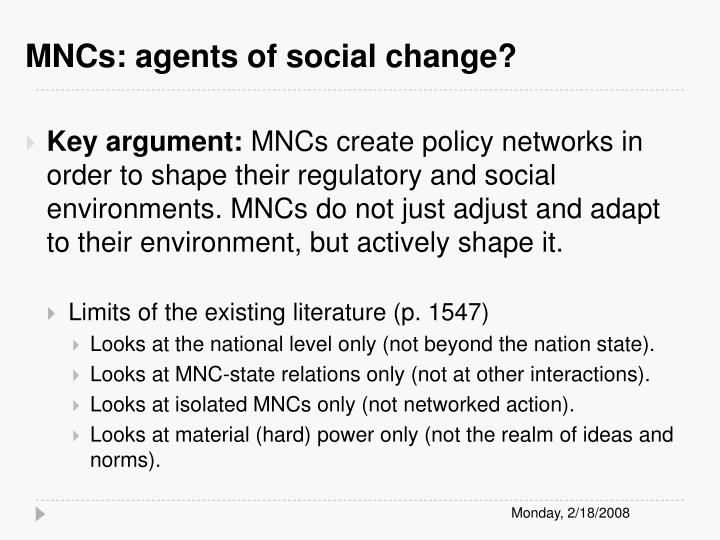 MNCs: agents of social change?