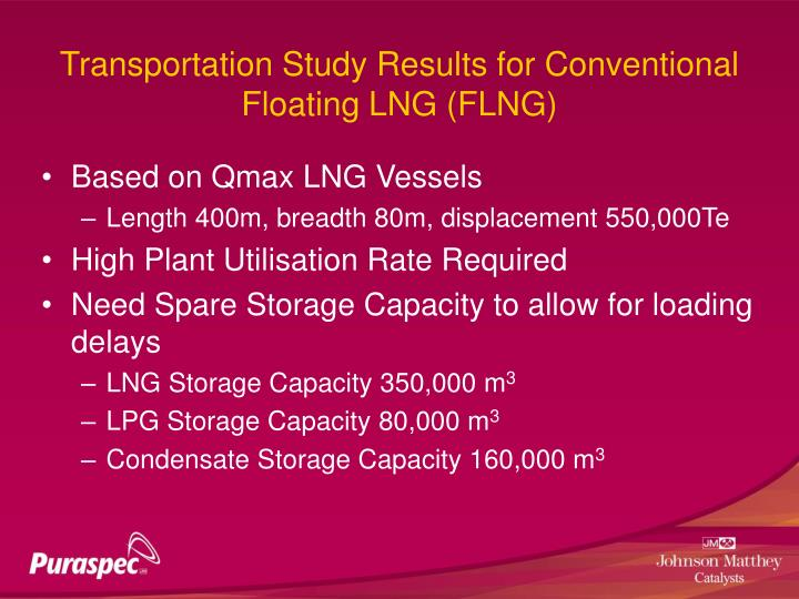 Transportation Study Results for Conventional Floating LNG (FLNG)