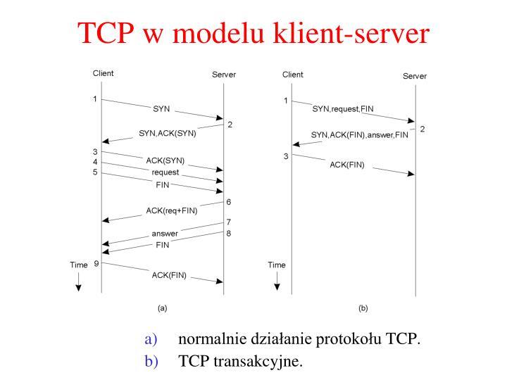 TCP w modelu k