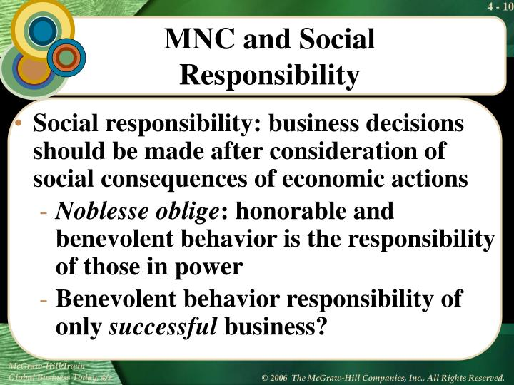 Social responsibility: business decisions should be made after consideration of social consequences of economic actions
