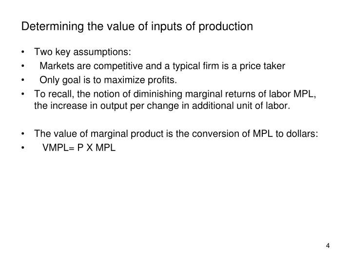 Determining the value of inputs of production