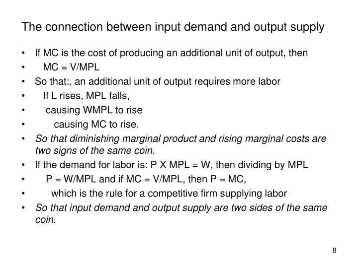 The connection between input demand and output supply