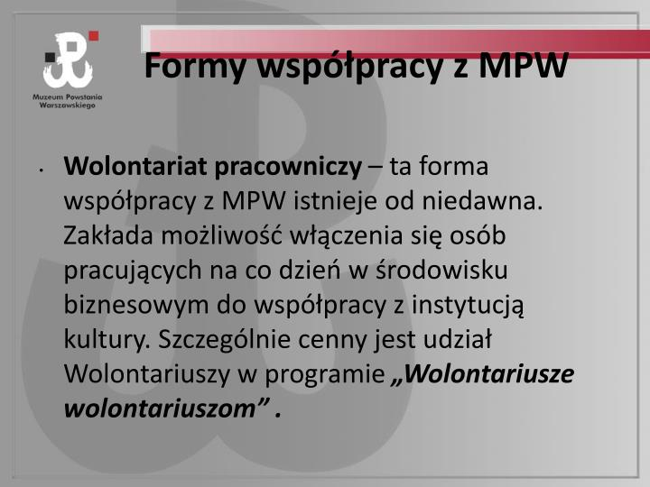 Formy współpracy z MPW