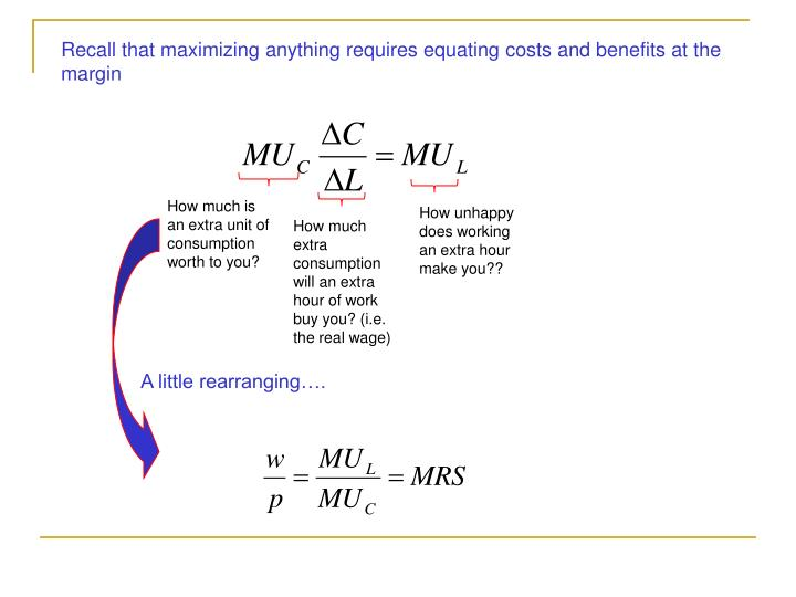 Recall that maximizing anything requires equating costs and benefits at the margin