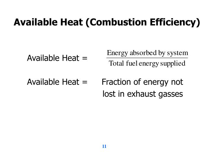 Available Heat (Combustion Efficiency)