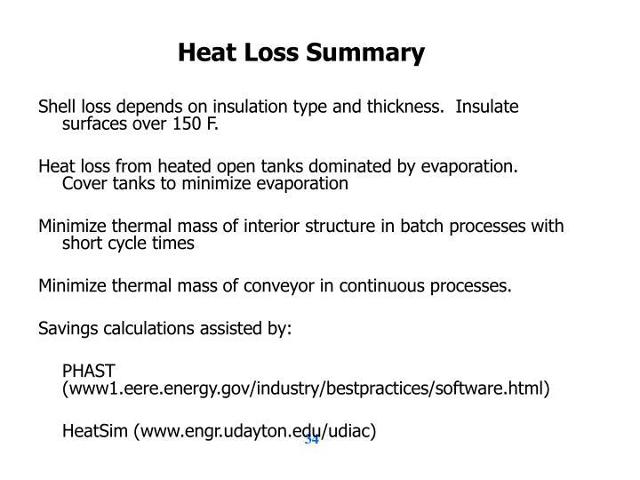 Heat Loss Summary