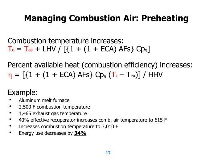 Managing Combustion Air: Preheating
