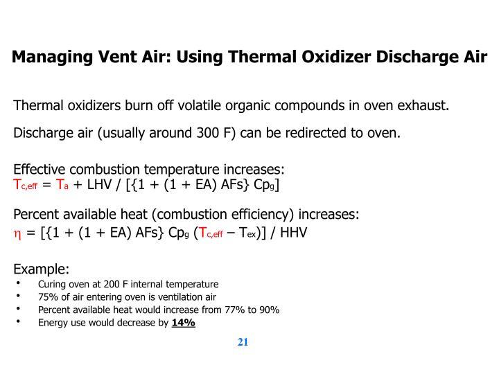 Managing Vent Air: Using Thermal Oxidizer Discharge Air