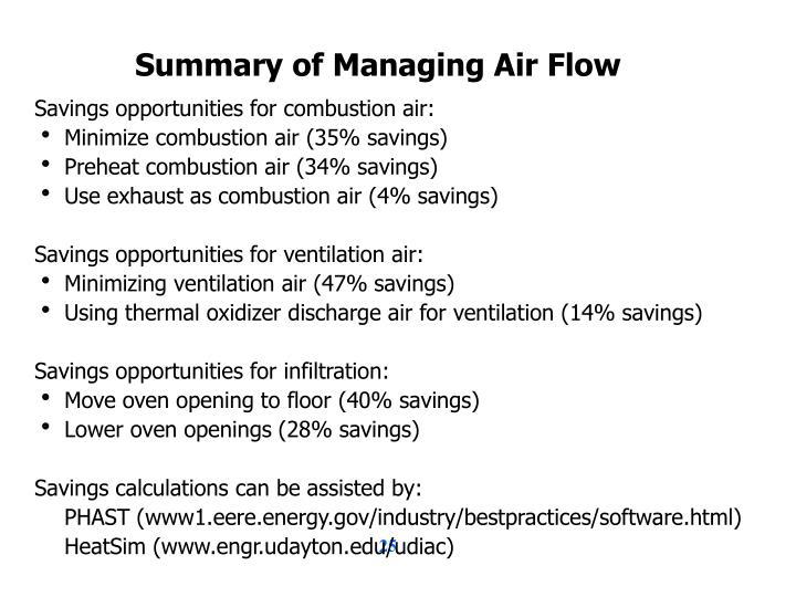 Summary of Managing Air Flow