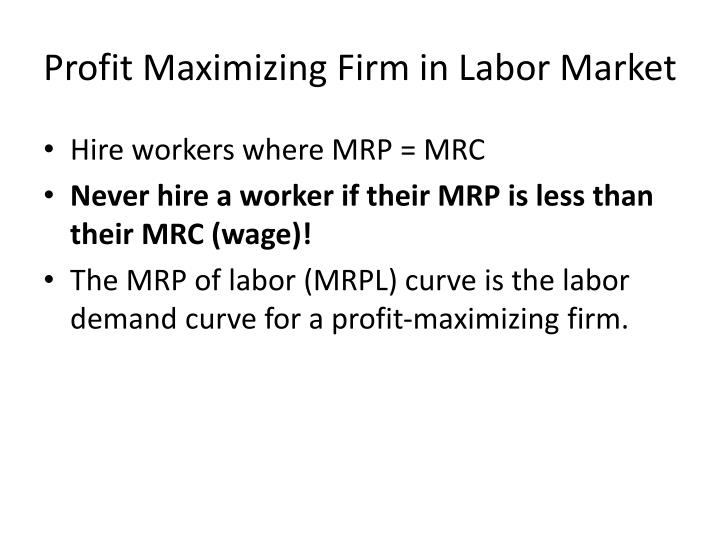 Profit Maximizing Firm in Labor Market