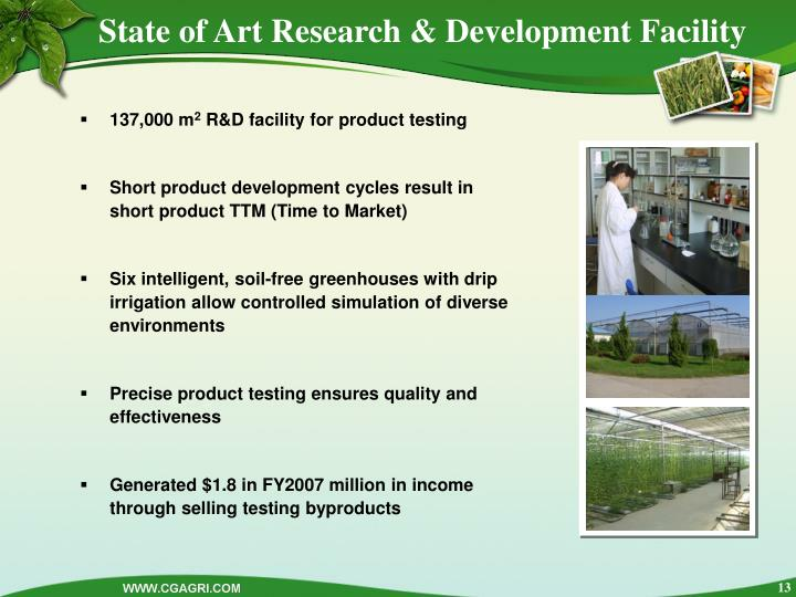 State of Art Research & Development Facility