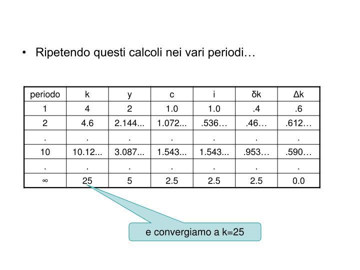 Ripetendo questi calcoli nei vari periodi…