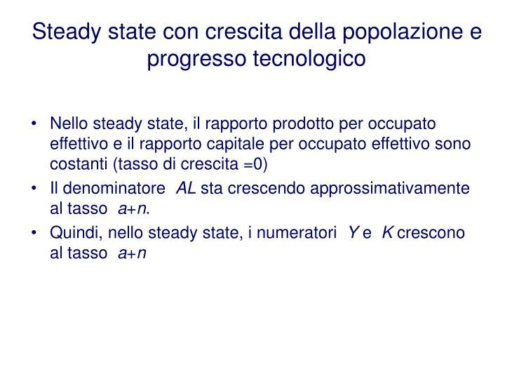 Steady state con crescita della popolazione e progresso tecnologico