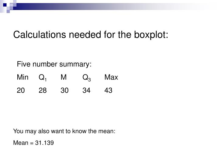 Calculations needed for the boxplot: