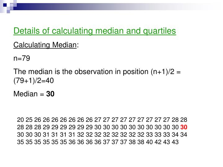 Details of calculating median and quartiles
