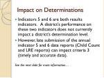 impact on determinations