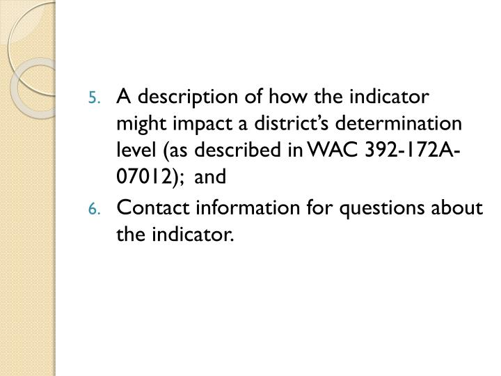 A description of how the indicator might impact a district's determination level (as described in ...