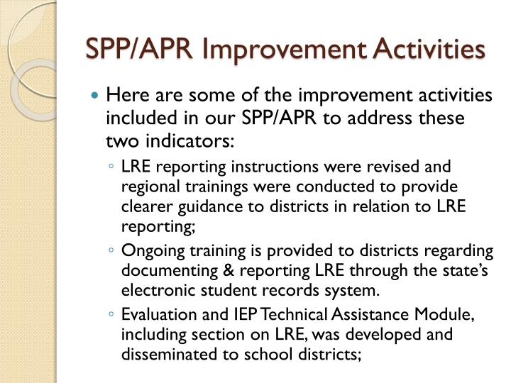 SPP/APR Improvement Activities