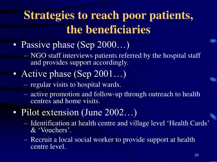 Strategies to reach poor patients, the beneficiaries