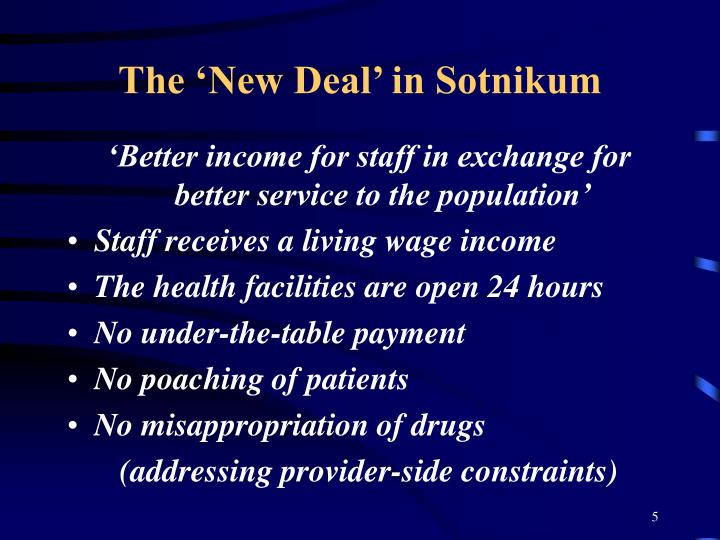 The 'New Deal' in Sotnikum