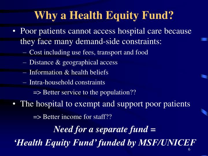 Why a Health Equity Fund?
