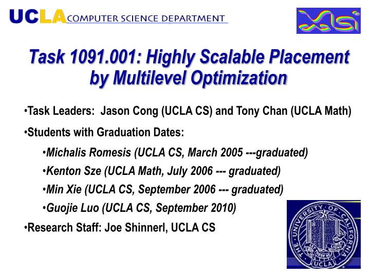 Task 1091 001 highly scalable placement by multilevel optimization