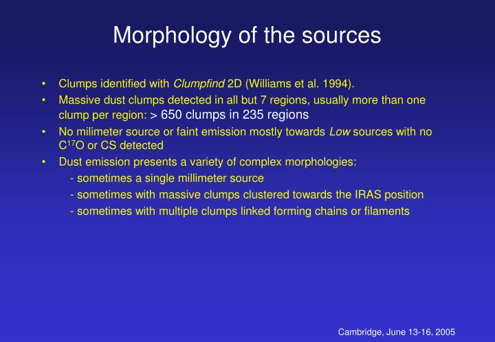 Morphology of the sources