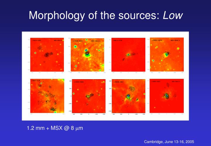 Morphology of the sources: