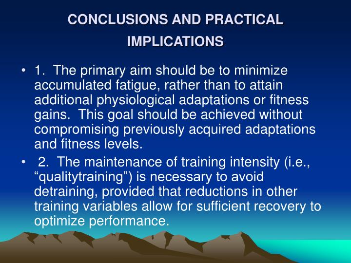 CONCLUSIONS AND PRACTICAL IMPLICATIONS