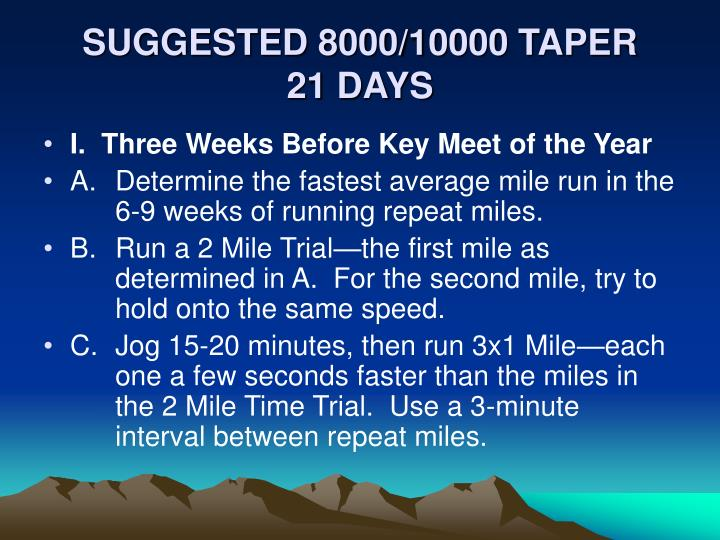 SUGGESTED 8000/10000 TAPER