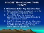 suggested 8000 10000 taper 21 days