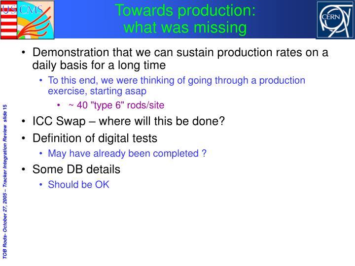 Towards production: