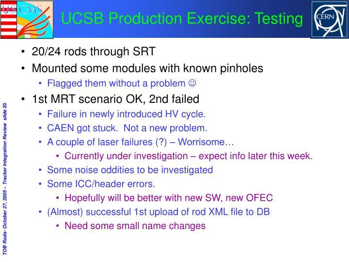 UCSB Production Exercise: Testing