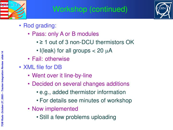 Workshop (continued)